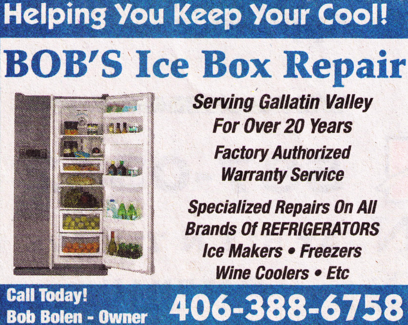 Bob's Icebox Repair - Repairing All Brands of Refrigerators, Freezers, Ice-makers, and Wine Coolers for Over 20 Years - Contact Information